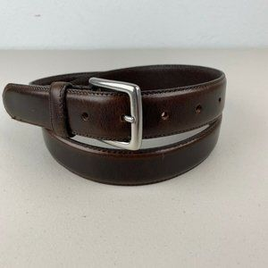 J Crew Men Stitch Edge Dress Belt 34 Brown Leather